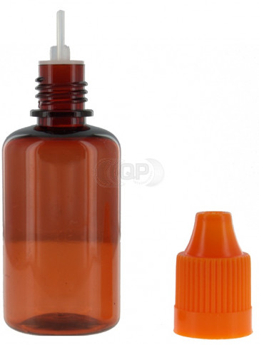 Flesjes PET bruin 30ml met dop, druppelaar & kindveilig