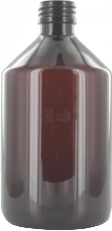 Fles 500ml bruin pet / kunststof 28mm ROPP sluiting