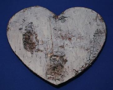 Houten hanger hart berkenschors 19,5 cm