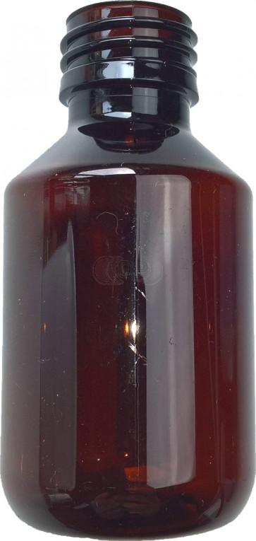 Flesje 100ml bruin pet / kunststof ropp 28