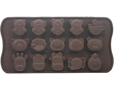 QP0013S siliconen mal: Assortie dieren love (poes, koala, koe, kip, varken enz.