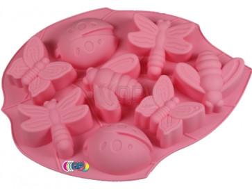 QP0023S siliconen mal: Lieveheersbeestje, Vlinder, Bij, Libelle