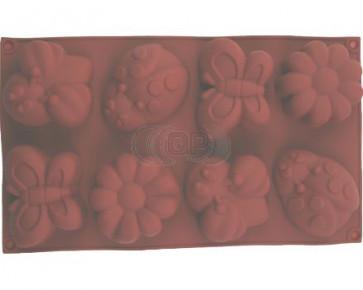 QP0053S siliconen mal: Lieveheersbeestje, Vlinder, Bij, bloem (groot)