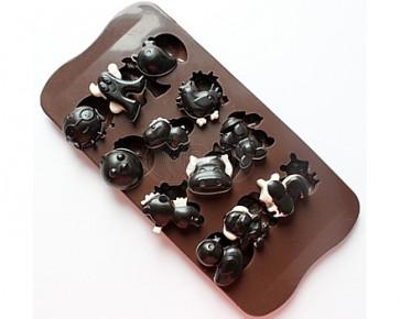QP0060S siliconen mal: spook, kip, eend, eekhoorn, zeepaard, hond