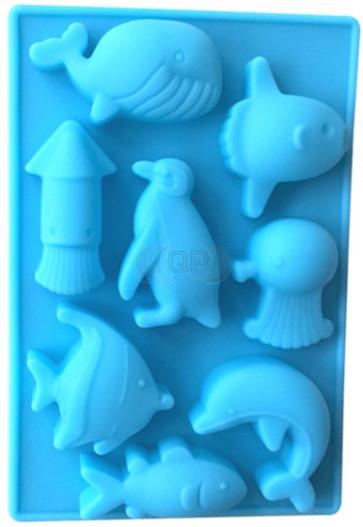 QP0096S siliconen mal: Zeedieren (Dolfijn, Pinguin, Vis, Walvis)