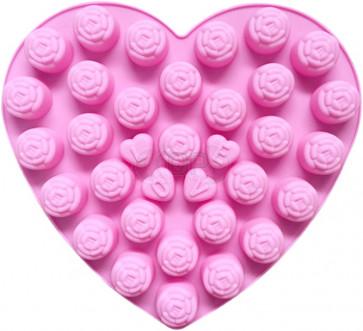 QP0107S siliconen mal: Roosjes / Hartjes met LOVE