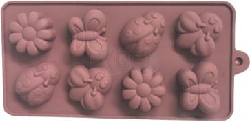 QP0136S siliconen mal: Bloemen / incecten
