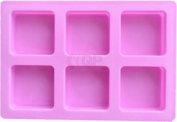 QP0141S siliconen mal: 6 zeep blokken vierkant (60mm)