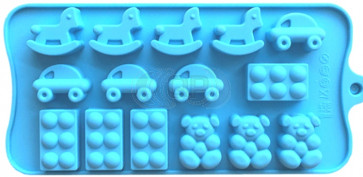 QP0150S siliconen mal: Hobbelpaard, auto, beer, blokje