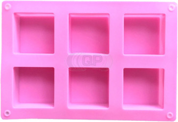 QP0155S siliconen mal: 6 zeep blokken vierkant (49mm)