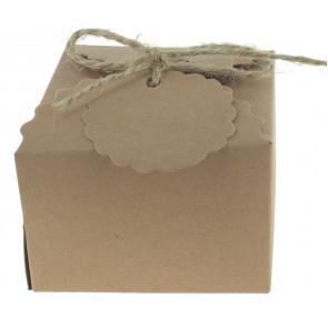 Cadeauverpakking met blanco label 5 stuks (6,5*6,5*4,5 cm)