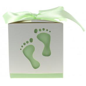 Cadeauverpakking voetjes wit / groen 10 stuks (6*6*6 cm)