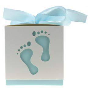 Cadeauverpakking voetjes wit / blauw 10 stuks (6*6*6 cm)