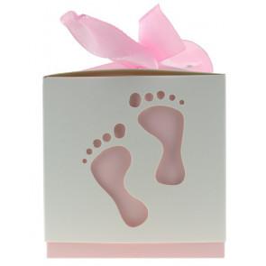 Cadeauverpakking voetjes wit / roze 10 stuks (6*6*6 cm)