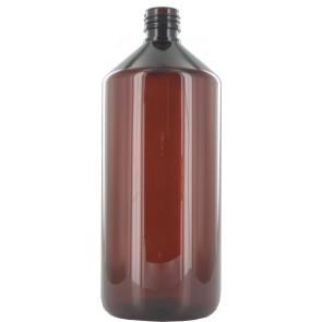 Fles 1000ml bruin pet / kunststof 28mm 28-410 ROPP sluiting