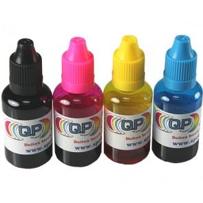 4 flesjes PET transparant 30ml met 4 kleuren doppen, druppelaar, kindveilig