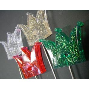 Prikker met kroon + glitters. Set van 4 kleuren