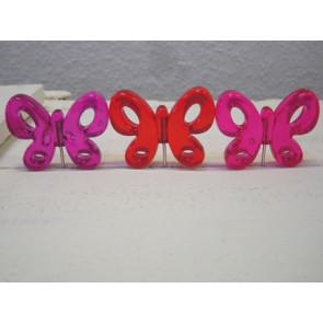 Prikker met vlinder+ glitters. Set met roze/rood/paarse vlinder