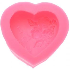 Qp0032NS siliconen mal: Hart met een roos, I Love U